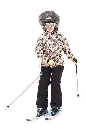Skier isolated on white background