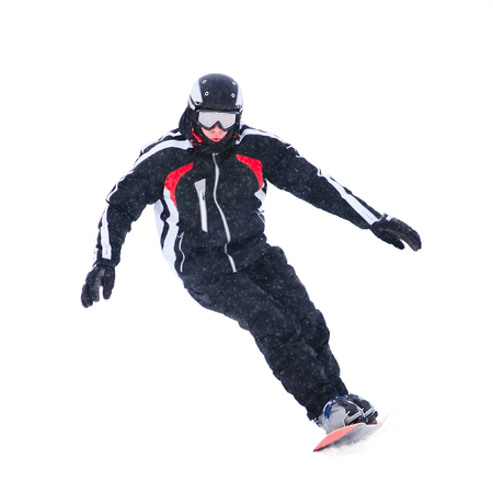 Teen snowboarder isolated on white background