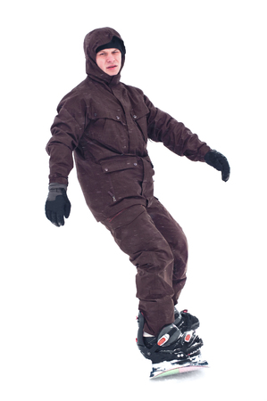Tiener snowboarder geïsoleerd op een witte achtergrond Stockfoto