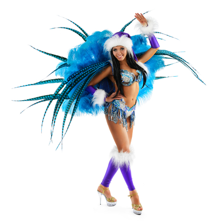 sexy girl dance: Smiling beautiful girl in a colorful carnival costume