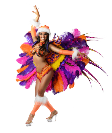 outerwear: Smiling beautiful girl in a colorful carnival costume