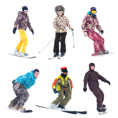 Collection of a young snowboarder on white background