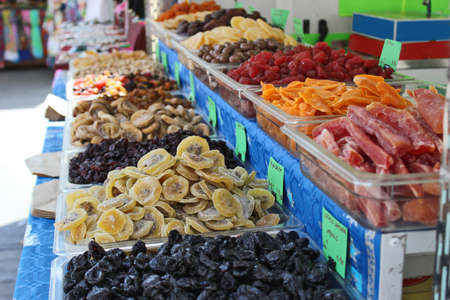 Multicolor dehydrated fruits in market