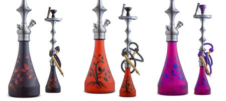 Colorfull sets of isolated hookah or water pipes on white background