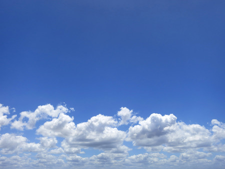 Blue sky with cumulus clouds in Inhambane, Mozambique, Southern Africa