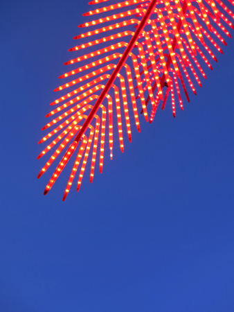 Red light party in a coco palm design with blue sky Stock Photo - 60396743