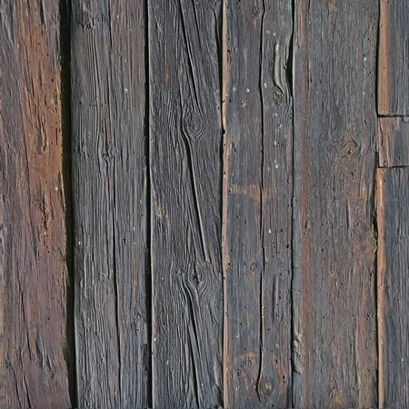Wall of old and weathered oak wood with copyspace