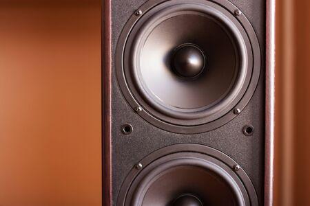 Powerful audio system  Closeup view of black bass power speaker photo