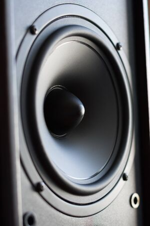 sub woofer: Powerful audio system  Closeup view of black bass power speaker Stock Photo