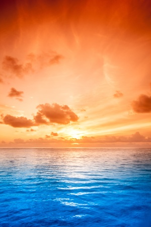 oasis at sunrise: Tropical sea water in Maldives Stock Photo