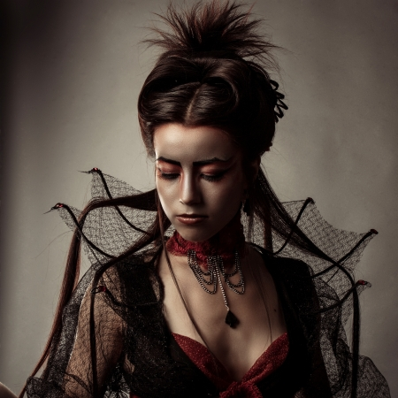 Fashion Gothic Style Model Girl Portrait Stock Photo - 22812784