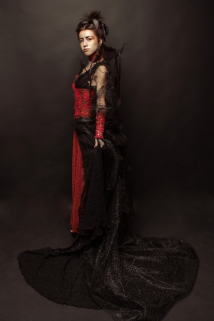 Fashion Gothic Style Model Girl Portrait photo