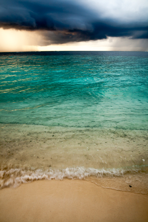 View of storm seascape in Maldives photo