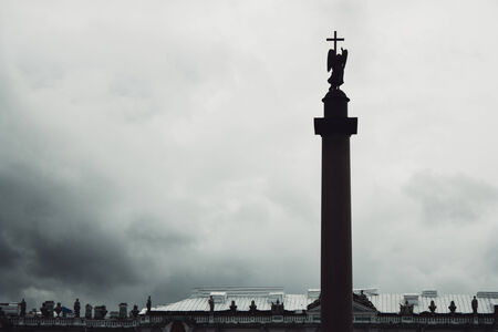 Alexander Column, is the focal point of Palace Square in St.Petersburg, Russia photo