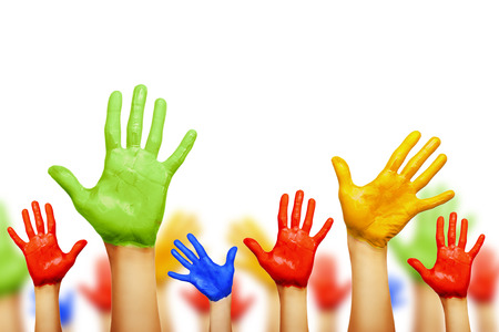 Colourful hands isolated on white Imagens