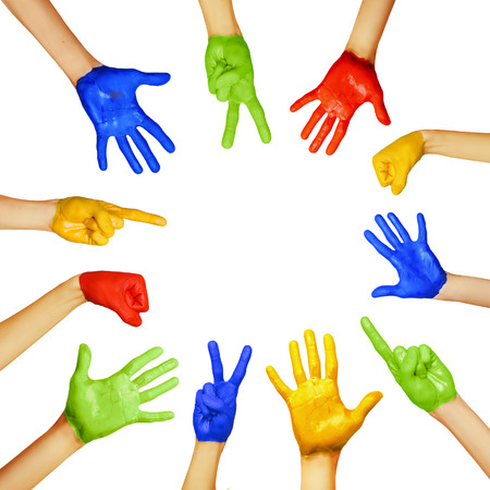 ethnic diversity: hands of different colors. cultural and ethnic diversity, vector illustration