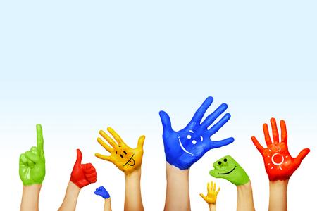 handen van verschillende kleuren. culturele en etnische diversiteit Stockfoto