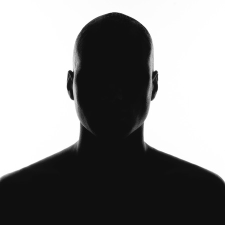 silhouette of the man on a white background photo