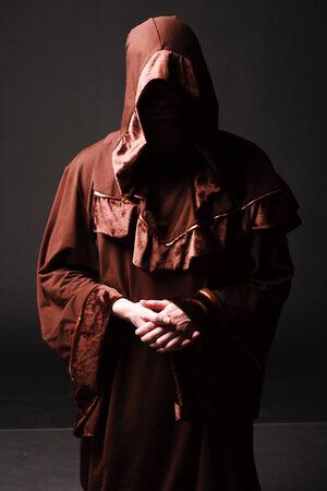 cassock: Portrait of mystery unrecognizable monk in robe