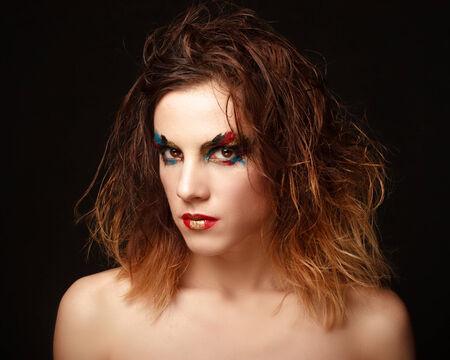 Glamor woman dark face portrait, beautiful female isolated on black background, stylish sexy look, young lady studio shot photo