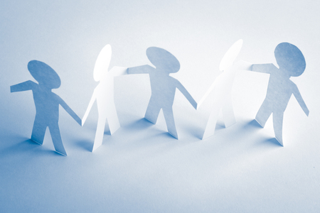 paper human team  friendship concept  studio shot