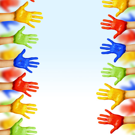 corporate culture: hands of different colors. cultural and ethnic diversity