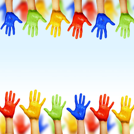 hands of different colors. cultural and ethnic diversity photo