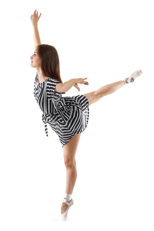 choreographer: Woman performing a dance against a white background