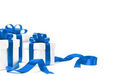 set van geschenkdozen met een tape. geïsoleerd op witte achtergrond Stockfoto