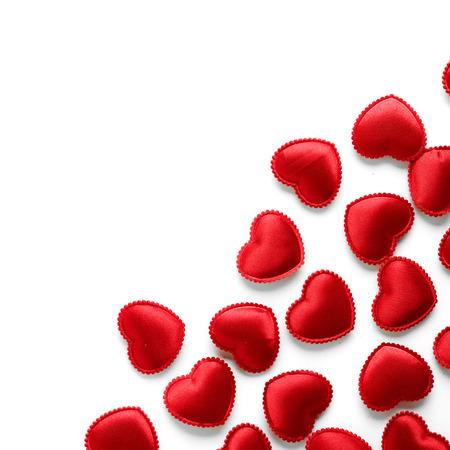 Felt red hearts isolated on a white background. studio shot photo