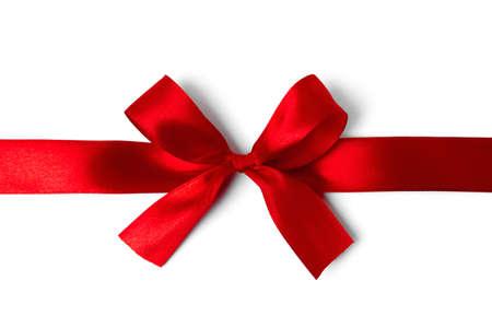 Red ribbon bow on white background. studio shot photo