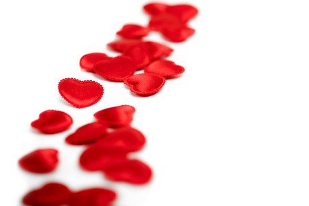 Felt red hearts isolated on a white background. studio shot photo