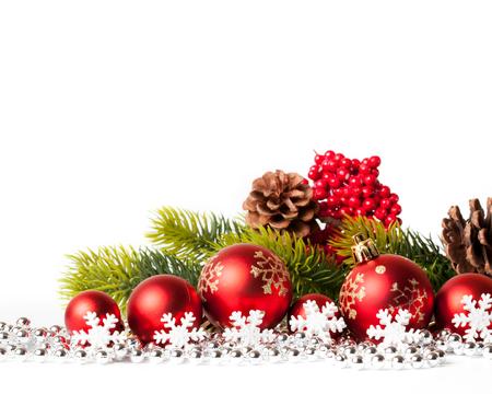 RBol De Navidad De Color Rojo Y Bolas En Blanco. Tiro Del Estudio ...