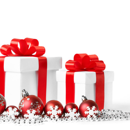 Gift with christmas balls isolated on white background photo