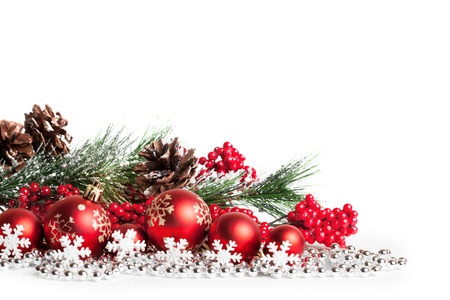 christmas backgrounds: red christmas tree and balls on white. studio shot Stock Photo