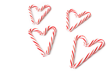 christmas candies: Heart made from christmas candies isolated on white background Stock Photo