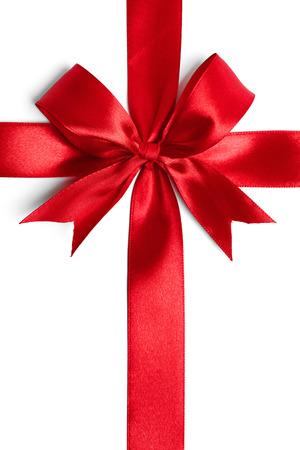 rood lint met staarten op een witte achtergrond Stockfoto