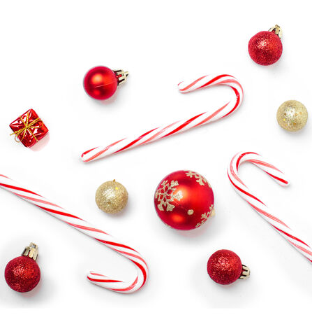 christmas candies: A lot of christmas candies and balls isolated on white background
