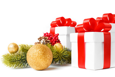 Gift with christmas tree and candy isolated on white background