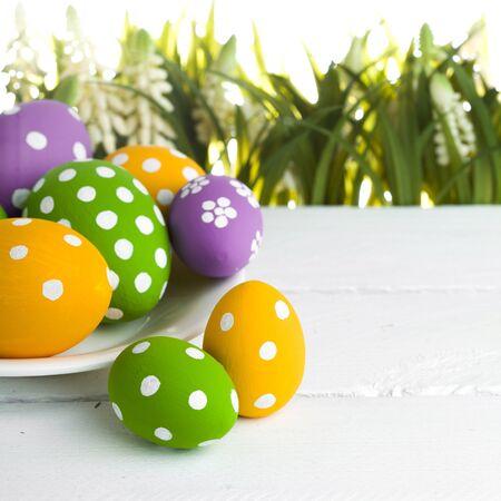 are hidden: easter eggs hidden in the grass Stock Photo