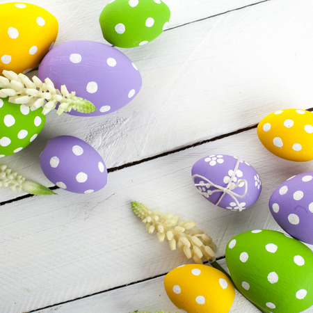 Easter background with colorful eggs photo