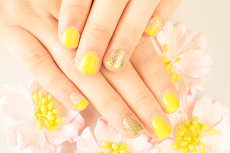 french pedicure: Beautiful womans nails Stock Photo
