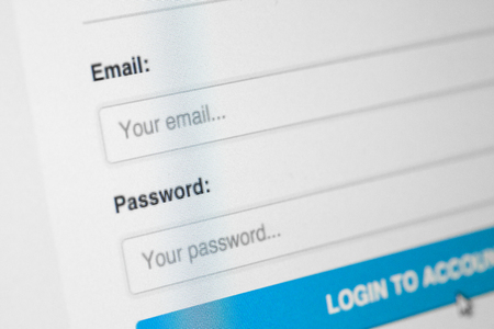 email security: Website Login Screen Stock Photo