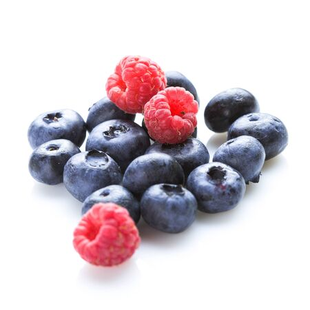 sweet background: Group of berries isolated on white background