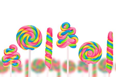 lolli: Fantasy sweet candy land with lollies isolated on white background Stock Photo