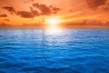 outdoor shot: orange mystic sunset on the sea, outdoor shot