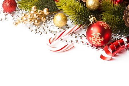 Christmas Decoration. Holiday Decorations Isolated on White Background Stock Photo