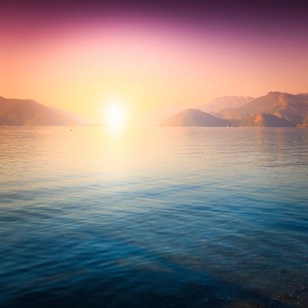 outdoor shot: amazing golden sunset in Marmaris. outdoor shot