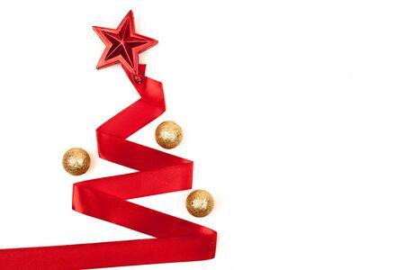 Ribbon christmas tree isolated on white background Stock Photo