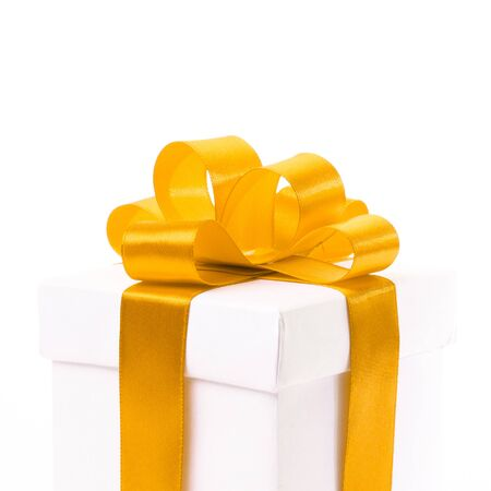 metalized: A blank gift box with ribbon and bow isolated on white background.